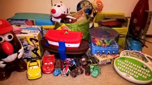 This is the pile of toys leaving our house!